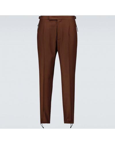 Brązowe spodnie wełniane Ermenegildo Zegna