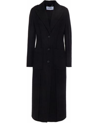 Черное итальянское пальто Salvatore Ferragamo