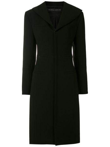 Черное длинное пальто двубортное с карманами Gloria Coelho