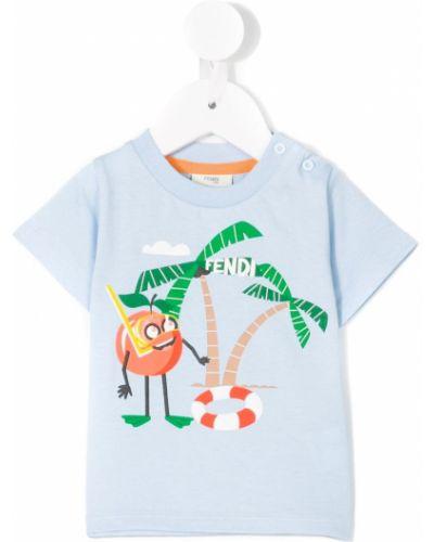 Niebieski t-shirt bawełniany krótki rękaw Fendi Kids
