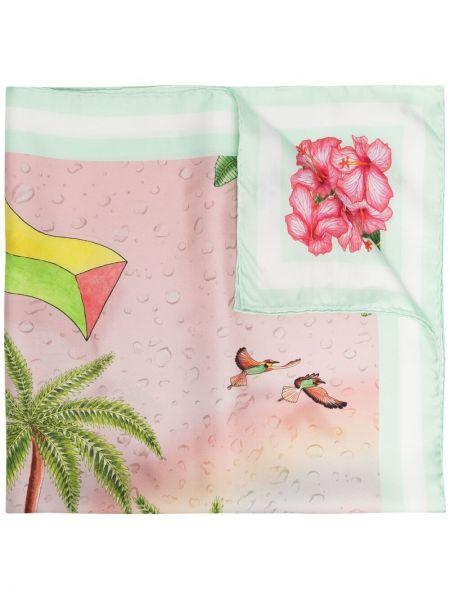 Różowy szalik z jedwabiu z printem Casablanca