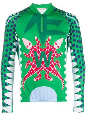 Спортивная футболка узкого кроя из крокодила с рукавом реглан с воротником Walter Van Beirendonck Pre-owned