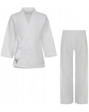 Белое спортивное кимоно с воротником из плотной ткани Demix