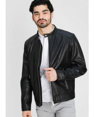 Кожаная черная кожаная куртка с манжетами с воротником Ostin