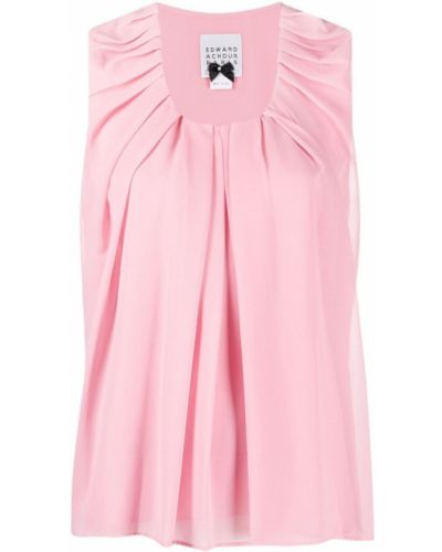 Różowa bluzka bez rękawów Edward Achour Paris