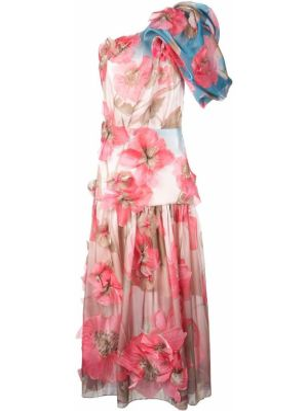 Платье миди розовое на одно плечо Peter Pilotto