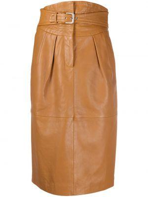 Кожаная юбка миди - коричневая Alberta Ferretti