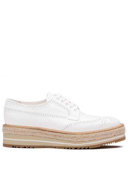 Buty brogsy skórzany na platformie Prada