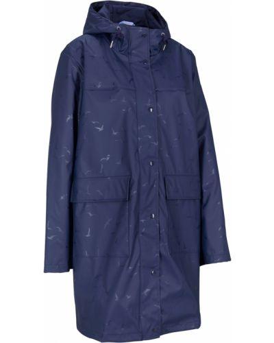 Синее пальто с накладными карманами с рисунком Bonprix
