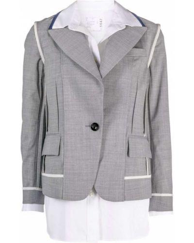 Серый пиджак длинный Sacai