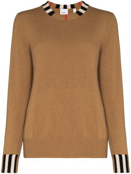 Brązowy kaszmir sweter z kołnierzem z paskami Burberry