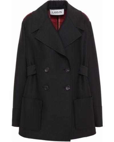 Шерстяное черное пальто двубортное Lanvin
