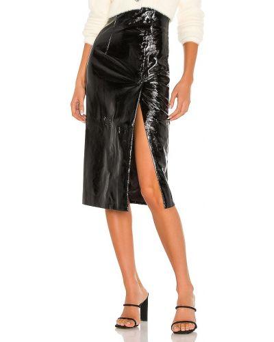 Школьная черная кожаная юбка-шорты Misha Collection