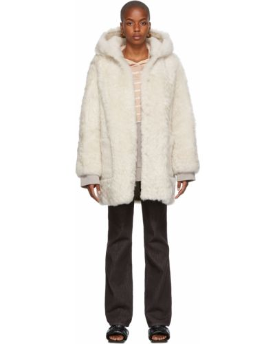 Белое длинное пальто Yves Salomon Meteo