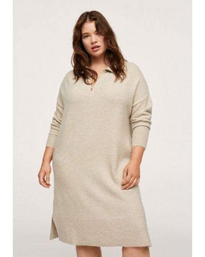Бежевое зимнее платье Violeta By Mango