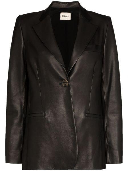 Однобортный черный кожаный длинное пальто Khaite