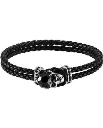 Плетеный браслет черный кожаный Swarovski