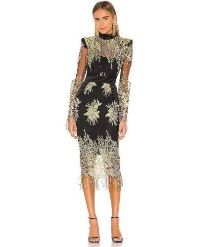 Satynowa czarna sukienka wieczorowa z haftem Zhivago