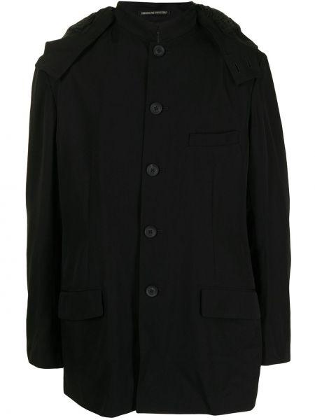 Czarny płaszcz puchowy z kapturem Yohji Yamamoto