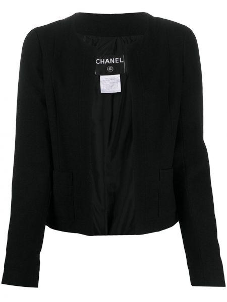 Шерстяная черная длинная куртка с карманами Chanel Pre-owned
