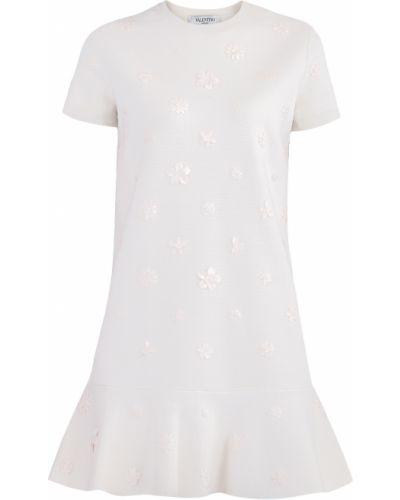 Платье с цветочным принтом с оборками Valentino