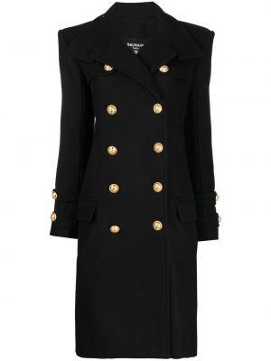 Черное длинное пальто с тиснением на пуговицах Balmain