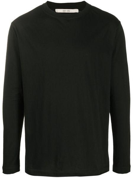 Прямая хлопковая черная футболка на пуговицах Damir Doma