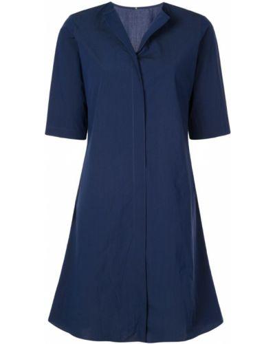 Синяя расклешенная рубашка с коротким рукавом на пуговицах с лебяжьим пухом Peter Cohen