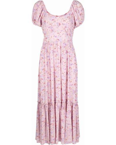 Розовое платье миди с принтом Loveshackfancy