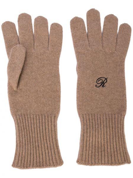 Prążkowane czarne rękawiczki bawełniane Raf Simons