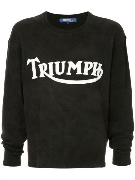 Прямая черная футболка в рубчик винтажная Junya Watanabe Comme Des Garçons Pre-owned