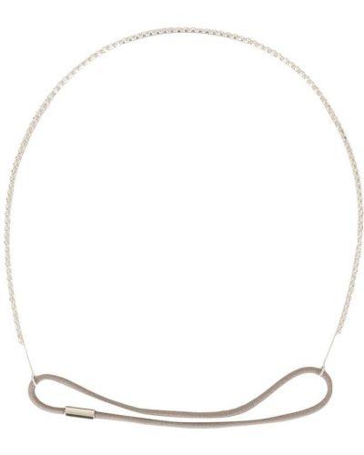 Серебряный ободок с декоративной отделкой эластичный Jennifer Behr