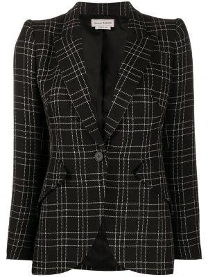 Черный приталенный удлиненный пиджак в клетку Alexander Mcqueen