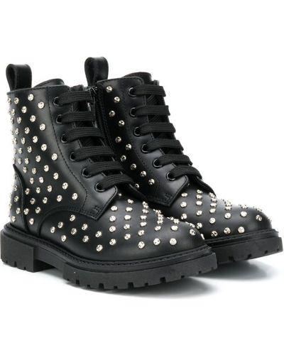 Кожаные черные ботинки на шнуровке круглые Ermanno Scervino Junior