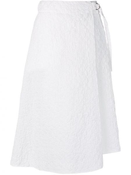 Юбка миди с завышенной талией белая Jil Sander Navy