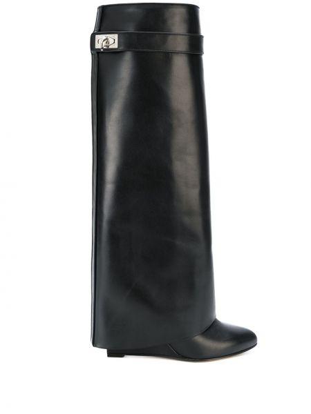 Kozaki skórzane na koturnie - czarne Givenchy