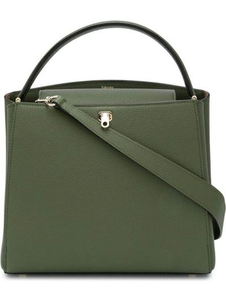 Золотистая зеленая сумка на плечо металлическая с карманами Valextra