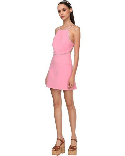Розовое платье мини без рукавов с декольте Miu Miu