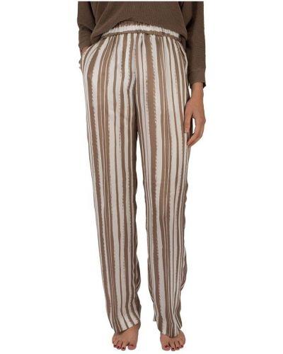 Białe spodnie w paski z jedwabiu Cappellini