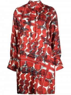Платье макси с длинными рукавами - красное Odeeh