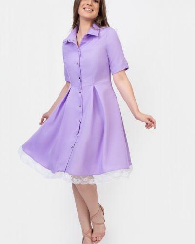 Гипюровое приталенное пышное платье миди Belluche
