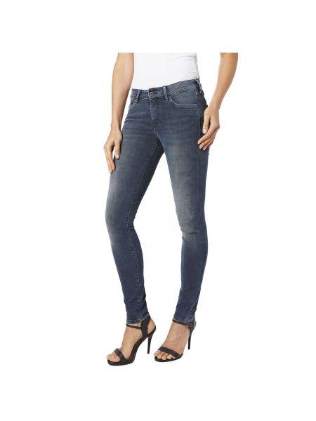 Джинсы-скинни с поясом потертые Pepe Jeans