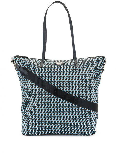 Синяя нейлоновая сумка-тоут на молнии с карманами Prada Pre-owned