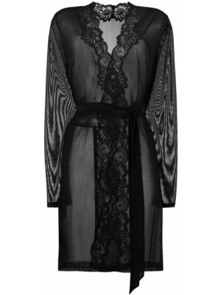 Черный ажурный халат Myla