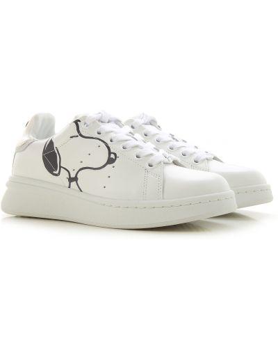 Skórzany biały trampki zasznurować okrągły Marc Jacobs