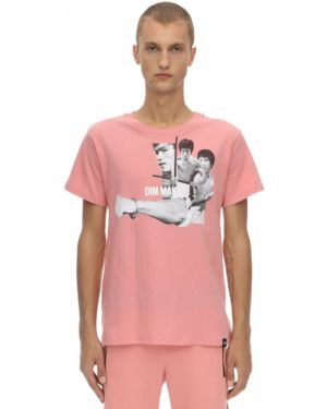 Różowy t-shirt bawełniany z printem Dim Mak Collection