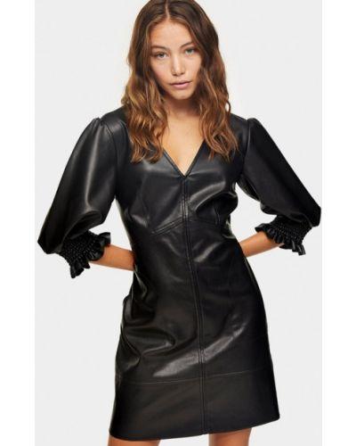 Кожаное черное платье Topshop