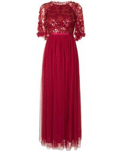 С рукавами красное платье мини с пайетками Needle & Thread