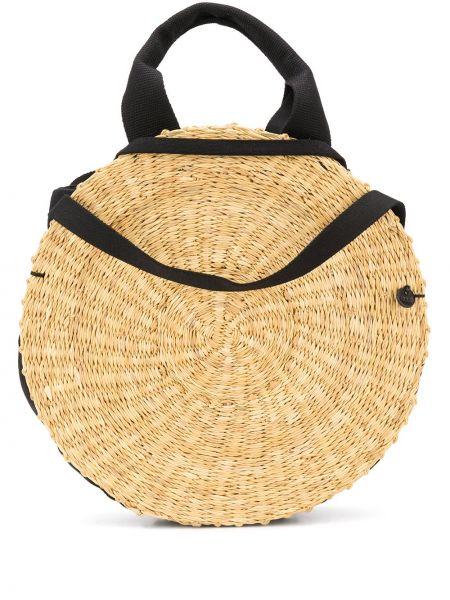 Открытая желтая соломенная сумка-тоут со вставками Muun