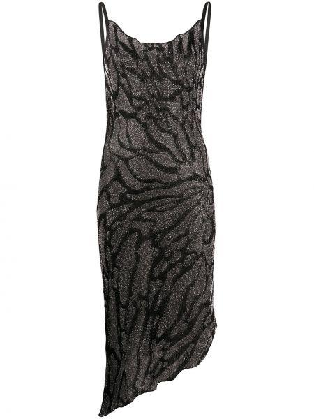 Платье миди с принтом - черное Just Cavalli